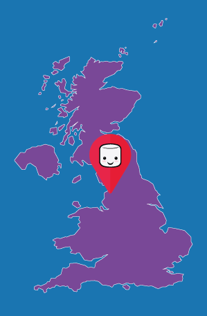 Map of UK demonstrating Google My Business | Marshmallow Marketing